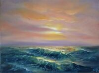 Oil Painting Canvas of the Yellow Pink Sunrise at Sea Storm Wave Seascape Art