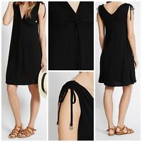 Ex M&S Marks and spencer BLACK knot front Sleeveless Beach Dress Size 8 - 22
