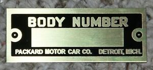 Packard Body Tag Brass 1930s 1934 1935 1932 1933 1926 1927 1928 1929 1930 1931