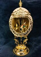 Vintage Taj Importing San Francisco Faberge Shaped Porcelain Music Box Japan 11""