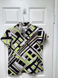 Weekends By Chico's Women's Golf Shirt 1 Multicolored Short Sleeve 1/4 Zipper