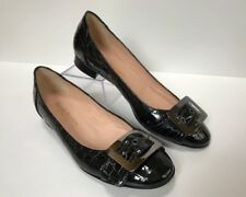 RUSSELL & BROMLEY  Sz 38.5 Black Patent Leather Embossed Croc Buckle Ballet Flat