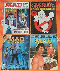 MAD MAGAZINE LOT OF 4: #194 1977 #251 1984 #330 1989 SPECIAL SUMMER 83 ROCKY..