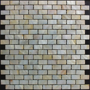 50 x Sheets of River Bed Shell Mosaic Tiles - Mother of Pearl Rectangle Cream