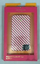 New Kate Spade iPhone 4 4S Hybrid Hardshell Case Pink Diagonal Stripe White