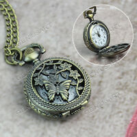 Taschenuhr Kettenuhr Halskette Uhr Umhängeuhr Bronze Schmetterling Metall Kette