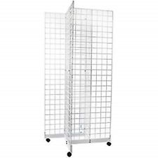 2 X 6 Grid Panel 4 Sided Floorstanding Display Fixture With Rolling Base White