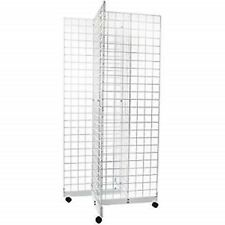 2' x 6' Grid Panel 4-Sided Floorstanding Display Fixture with Rolling Base White