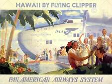 Travel tourism flying clipper hawaii avion tropical new art print poster CC4404