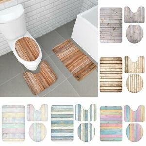 3PCS Old Wooden Board Bathroom Carpet Pedestal Rug Lid Toilet Cover Bath Mat Set