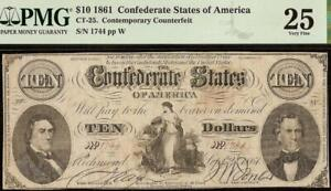 1861 $10 CONFEDERATE STATES CONTEMPORARY COUNTERFEIT CIVIL WAR NOTE CT-25 PMG 25