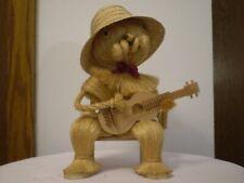 NEW ~ Folk Art ~Zakopane, Poland *THE GUITARIST* Wood & Straw Statue ~ Excellent