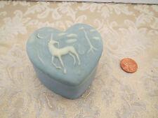 Vintage Genuine Incolay Stone Blue Unicorn Heart Trinket Box Robert Nemith