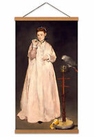 Edouard Manet Young Lady In 1866 Painting Parrot Woman Canvas Wall Art Print
