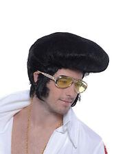 NERO QUIFF Parrucca ELVIS ANNI'50 Rock And Roll Danny grasso T Birds Costume Nuovo