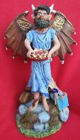 Tlaquepaque Fabulous Lush Nativity Devil Man in Blue Robe Holding A Crown