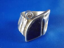 Design Ring 925 Silber mit Lapislazuli & klarem Stein Ø 18mm Modernist Punze R