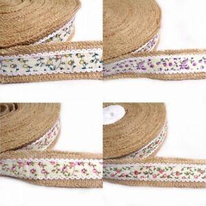 1 Metre 40mm Floral Flower Vines Jute Ribbon Craft Hessian