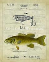 Creek Chub Fishing Lure Patent Print Vintage Bass Bait Hunting Cabin Wall Decor