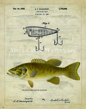 Fishing Lure Patent  Poster Art Print Vintage 11x14 Creek Chub Bass Fish  PAT389