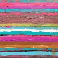 """Original Abstract Art 12"""" x 12"""" Signed Acrylic Painting on Canvas Stripes"""