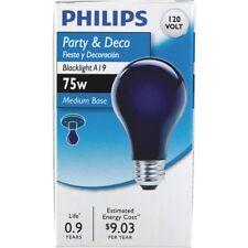 6- Philips 75 Watt A19 Party Incandescent Blacklight Light Bulbs Black Light💡