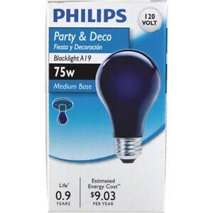 6 Philips 75 Watt A19 Halloween 😉Party Incandescent Blacklight Black Light Bulb