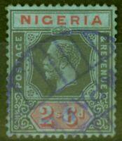 Nigeria 1925 2s6d Black & Red-Blue SG27 Die II Fine Used Parcel Cancel..