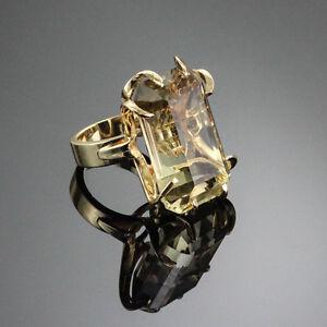 SUPERFIT LARGE LEMON CITRINE COCKTAIL STATEMENT RING 14K YELLOW GOLD SIZE US7.75