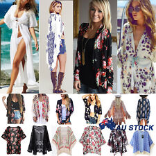 Women Chiffon Kimono Blouse Coat Floral Cardigan Jacket Boho Beach Cover Up Tops
