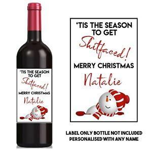 Personalised Funny/cute/rude/sarcastic CHRISTMAS WINE LABEL secret Santa gift