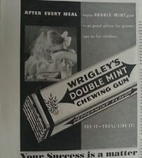 1937 Wrigleys Double Mint Chewing Gum Little Girl Eating Cereal Original  Ad