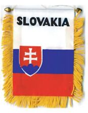 """Slovakia Mini Banner Flag 4 x 6"""" with Brass Staff & Suction Cup - New"""
