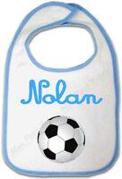 Bavoir Bébé Bleu Ballon de Foot avec Prénom Personnalisé -repas biberon football