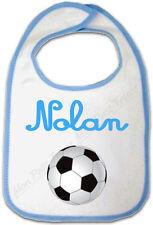 Bavoir Bébé Bleu Ballon de Foot avec Prénom Personnalisé