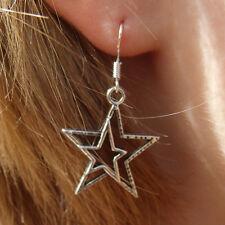 "3/4"" diam. Silvered  Cast Rock Star Earrings on 925  Silver French Hooks."
