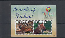 Gambia 2013 MNH Animals of Thailand 2v S/S World Stamp Tigers Dhole Stamps