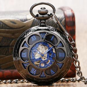 Black Vintage Men's Wind Up Pocket Watch Mechanical Fob Pendant Chain Luxury