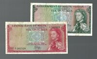 MALTA ✨ 1949 ORDINANCE & 1967 ACT ✨ 10 SHILLINGS X 2 ✨ RED AND GREEN NOTE!!!!!