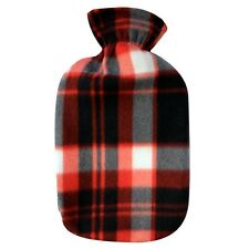 Fashy Hot Water Bottle with Red-Black-White Cotton Plaid Plushie Cover 2L Water