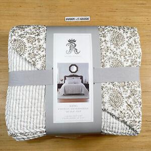 Rachel Ashwell Denise Paisley Reversible 3pc Quilt Set 'Tan' - 106x92 King Size