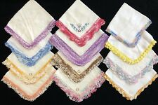 Vintage Hankies Lot of 12: Multi-Color Crochet Trim, Irish Linen (RF883-H11)