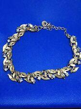 Vintage Lisner Necklace Set Goldtone Leaves W/crystals