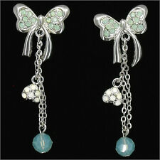 Bow Dangle Earrings Costume Jewelry Party Rhinestone Blue Green 442