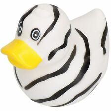 Black & White Rubber Vinyl Squeaky Duck Dog Toy With Internal Squeak 8x10cm