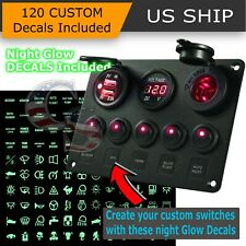 5 Gang On-Off Red LED Toggle Switch Panel Voltmeter Dual USB Car Boat Marine