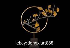 75 CM Western Art Deco Bronze Marble Two snail Maidenhair Tree Leaf Sculpture