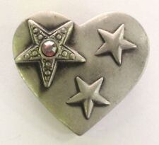 Brooch Pin - Heart and Stars - AB Rhinestone - Silver Pewter Tone