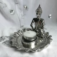 NEW THAI BUDDHA TEA LIGHT CANDLE HOLDER RUSTIC SILVER DESIGN MEDITATING