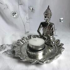 NEW THAI BUDDHA TEA LIGHT CANDLE HOLDER RUSTIC SILVER DESIGN MEDITATING